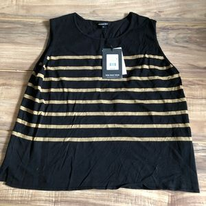 What Who Wear Sleeveless Striped Top